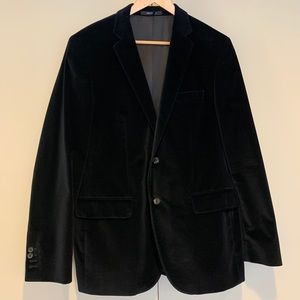 Hugo Boss Navy Blue Velvet Coat